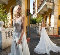 Wholesale Dalia Dress - Dimitrius Dalia 2017 Luxurious Arabic Beach Wedding Dresses Backless Beaded Crystals Chiffon Bridal Dresses High Split Wedding Gowns