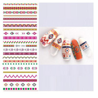 Wholesale Nail Stripes Stickers Design - Water Transfer Foils Nail Art Sticker Fashion Design Colorful Stripe Manicure Decals Minx Nail Decorations Tools