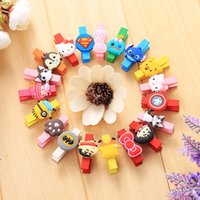 Wholesale Korean Wooden Clip - Wholesale Korean wooden cartoon clip Mini wooden wooden memo clip
