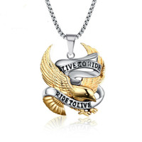 Wholesale Stainless Steel Eagle Necklace - Fashion Eagle Necklace Pendants LIVE TO RIDE Biker Sport Men Gold Plated Stainless Steel Hero Jewelry PN-158