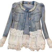 Wholesale Ladies Lace Jackets - Wholesale- New 2016 Lady Vintage Jeans Jacket Lace Jacket Spring Jackets Women Outerwear Slim Lace Patchwork Long-sleeve Denim Jacket