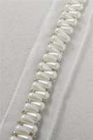 Wholesale Shiny Polyester Fabric - Handmade custom lace trims long length color production simple and elegant fashion beautiful shiny white diamond