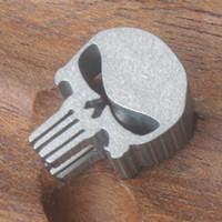 Wholesale Titanium Skull Pendants - MG EDC Lanyard Punisher Skull Titanium Ti Jewelry Parachute Cord Pendant Bead   Zipper pull CFZ6-Ti Free Shipping