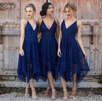 Wholesale Irregular Hem Dresses - 2017 New Style Elegant Tea Length Navy Blue Lace Short Bridesmaid Dresses Irregular Hem V Neck Maid of Honor Country Wedding Guest Dresses