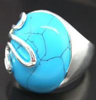 Wholesale Tibet Silver Natural Stone Rings - Natural Stone Fashion Jewel 17mmX21mm Blue Turquoise 925 Sterling Silver Jewelry Ring