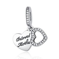 Beloved Mother Dangle Pendant Beads Autêntica 925 Sterling Silver Jewelry Heart Charm Beads para DIY Dia das Mães Presentes Acessórios de pulseira