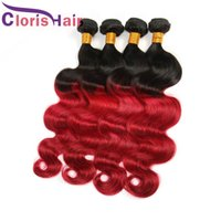 Coloreado 1B Red Body Wave Bundles Malasia Virgen Cabello Humano Ondulado Roots Rojo Ombre Pelo Extenciones Reina Destaque Dos Tonos Ombre Tejidos