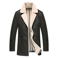 Wholesale Leather Jackets Lapels Men - Sheepskin Coats Shearling Mens Leather Jackets Fur Coats Warm Thick Outwear Overcoat Windbreaker Tops Plus Size High Quality