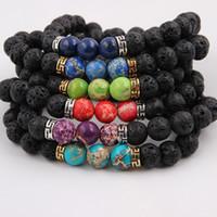 bracelets pour hommes balance en or achat en gros de-Ordre mixte Naturel Noir Lava Pierre Bracelets Chakra Guérison Équilibre Perles Bracelet pour Hommes Femmes Stretch Yoga Bijoux