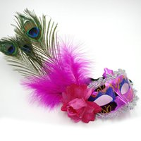 Wholesale Lady Peacock Mask - Peacock Feather Plume Mask Party Ball Masquerade Masks Italian Princess of Venice Mask Woman Lady Chriatmas Wedding Decoration ZA2660