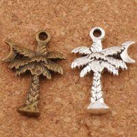 pingente de lua antiga venda por atacado-Coqueiro Moon Spacer Charme Beads 200 pçs / lote Moda de Prata Antigo / Bronze Pingentes Liga Artesanal Jóias DIY L413 21.2x14.3mm