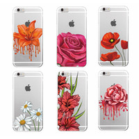 Wholesale Iphone Case 4s Flower Pattern - Rose Flower Floral Pattern Hot Pink Garden TPU Phone Case Cover For iPhone 7 7Plus 6S 6Plus 5 5S SE 5C 4 4S