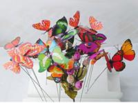 ingrosso pianta stelo-Paletti a farfalla artificiale con gambo lungo, 25 pezzi per set, usati in giardinaggio all'aperto e decorazioni per piante da interno