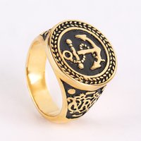 Wholesale Bike Steel Jewelry - Fashion Men Gold Black Mens Rings Stainless Steel Vintage Anchor Signet Ring for Men Boy Punk Party Bike Fashion Jewelry