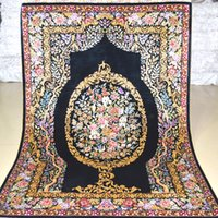oriental tapestries - Mingxin Carpet x4 feet black modern carpet flower luxury hand knotted silk Persian Oriental tapestry handmade carpet floor tapetes