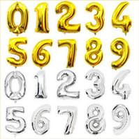 fuentes de la fiesta de cumpleaños rosa al por mayor-Nuevo rosa número azul globos de papel fiesta de cumpleaños dígitos globos decoración de la boda baloons vacaciones de navidad suministros de 16 pulgadas número