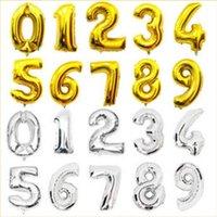 mavi rakam toptan satış-Yeni Pembe Mavi Numarası Folyo Balonlar Doğum Günü Partisi Haneli Balonlar Düğün Dekor Baloons Noel Tatil Malzemeleri 16 inç numarası