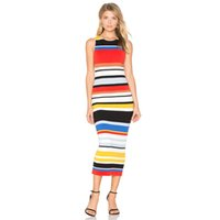Wholesale Stripe Party Dresses - Sweet Stripe Women Dress Sleeveless Elegant Party Fashionable Ladies Dresses Vestidos Mujer Casual Dresses Clothing 50Y0090