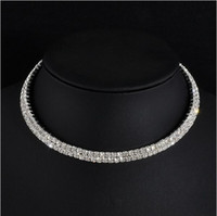 Wholesale Ladies Dress For Christmas Day - Two Rows Clear Crystals Stretchy Choker Bridal Dress Jewelry Accessories Necklace Hot Selling Silver Alloy Party Circle Necklace For Lady