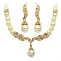 Wholesale Gold Tone Bridesmaid Jewelry - Jewelry For Women Silver Gold Tone Pearl Rhinestone Crystal Diamante Wedding Bridal necklace and earrings Bridesmaid jewelry set 12 sets