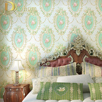 Wholesale Tapete Floral - Wholesale- 10M Home Improvement High-End vintage Mirror Pattern Flocking Wallpaper Rolls Traditional Floral Scroll Wall paper tapete R303