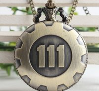 Wholesale Titanium Watches Wholesale - Wholesale-Wholesale 10 PCS Arrive Game Extensions Fallout 4 Shelter Theme Pendant Vault 111 High Quality Brown Quartz Pocket Watch