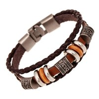 Wholesale 2017 Hot Fashion Jewelry Men Beaded Strands Europe And The United States Weaving Punk Leather Bracelet Hip Hop Party