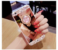 Handmade Bling Diamond Crystal Holder Case com suporte Kickstand Mirror Phone Case para iPhone X 8 7 Plus 6 6S Samsung S8 S7 Edge Note 8