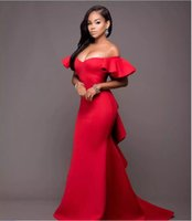 Wholesale Transparent Short Piece Dress - 2017 Red Party Off-Shoulder Mermaid Prom Dresses Saudi Arabia Ruched Satin Transparent Long Celebrity Evening Gowns Graceful
