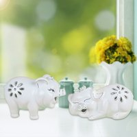 carved wood pig - Happy two pig series ceramic crafts household items decorative works of art indoor ornaments gift series