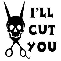 Wholesale Wholesale Cut Decals - Wholesale 10pcs lot I'll Cut You-hair Stylist Hairdresser Funny Humor Car Sticker for Truck Window Bumper Door Motorcycle Kayak Vinyl Decal