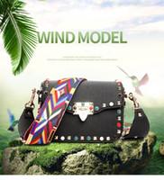 Wholesale Turquoise Grey - 2017 Famous Brand Women Handbag Knitting Wide Shoulde Straps Flap Bags Crossbody Luxury Designer Totes ColorFul Turquoise Rivet Decoratation