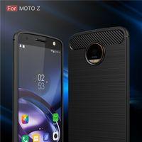 Wholesale Carbon Fibre Brush - Hybrid Armor Case For Motorola Moto Z Moto Z Play Moto Z force Moto G5 Plus Carbon Fibre Brushed Silicone Phone Case Shell