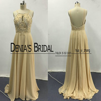 Wholesale photo image art online - 2017 Champagne Prom Dresses Real Images Spaghetti Straps Beaded Keyhole Neck Low Back Sweep Train Chiffon Evening Gowns