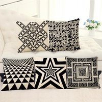 Wholesale nordic fabric - 45cm 90g Nordic Black Geometry Cotton Linen Fabric Throw Pillowcase 18inch Fashion Hotal Office Bedroom Decorate Sofa Chair Cushion cover