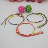 Wholesale Cheap Girls Charm Bracelets - Bracelet Girls Luxury Brand Colorful Infinity Bracelet Tassel Handmade Jewelry Cheap Braid Cord Strand Braided Friendship Bracelets