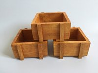 Planters square wooden planter - D10XH5CM D4inch H2inch Wood box Mini Square wooden pot wood fence planter for small Planter Succulent Box
