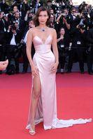 Wholesale long lace slip - Bella Hadid Cannes Film Festival 2017 Pearl Pink Strapless Thigh-high Split Slip Celebrity Dresses Prom Evening Dress Custom Made