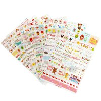Wholesale Calendar Notebook - 6 Sheet set Stickers Cute Korea Pvc Transparent Flake Seal Cards For Scrapbooking Diy Diary Calendar Notebook Label Stationery