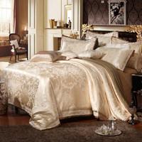 Wholesale Oriental Cover - Wholesale- 4 6Pcs Luxury Silk Oriental Bedding set Queen King Size Golden Beige Wedding Bed linen Duvet comforter cover Pillowcase sham