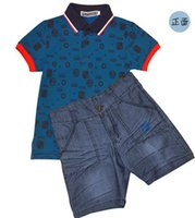 Wholesale Baby Polo Collars Wholesale - 2017 Boys Clothing sets summer children clothing set baby boy clothes Polo t shirt + Jeans Pants shorts For 2-10 Years