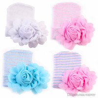Wholesale Newborn Crochet Hats Flowers - 2017 Newest Newborn Baby Crochet Hats with Big Flowers Beanie Cute Baby Girl Chiffon Flower Knitting Stripe Hedging Caps Cotton 0-6M BH62
