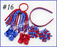 Wholesale stick hair weave for sale - 5 sets korker Ponytail streamers woven headbands hair ties bows clips flowers corker Curly ribbon hair bobbles Accessories PD026