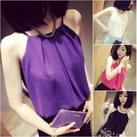 Wholesale Cheap Crop Top Tees - Wholesale-2016 New Summer Fashion Women Tops Chiffon Tank Tops Camisas Vest Casual Ladies Feminina Low Price Cheap Cropped T Shirt Tee