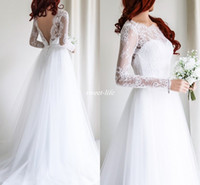 Wholesale Empire Greek Dress - Plus Size Lace Beach Boho Wedding Dresses 2017 A Line Illusion Long Sleeves Low Back Greek Country Style Cheap White Tulle Bridal Gowns