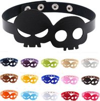 Halloween Geister Schädel PU Leder Taste Choker Halskette Mode Skeleton Kragen Halsketten Maskerade Requisiten Kostüm Party Supplies Geschenk