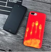 thermisches gehäuse großhandel-für iphone 6 6s plus 7 7 plus wärmeempfindliche physikalische thermische sensorverfärbung lustige matte case wärmeempfindliche rückseitige abdeckung 50 stücke