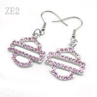 Wholesale Stainless Steel Earrings Color - Free Shipping! Punk hot sale Motor Club Pink color Crystal Rhinestone Biker Earrings Jewelry