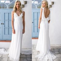 Wholesale Pink Department - 2018 Bohemian Chiffon Bridal Dresses Fresh Country Forest Department Beach Outdoor Lawn Travel Photography Outside Beach Wedding Dress