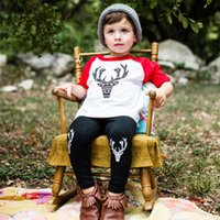 Wholesale Girl Winter Leg Pants - Wholesale- 2Pcs Baby Kids Boy Girl Clothes Cotton Deer T-shirt Legging Pants Cute Animals Toddler Clothing Set Outfits